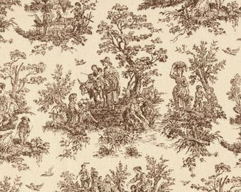Chocolate Brown Toile Fabric by Premier Prints no.151
