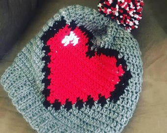Pixel Heart Hat, Pixel Slouchy Hat, 8 Bit Heart Hat, Pixel Gamer Hat, Health Bar Hat, Retro Game Hat