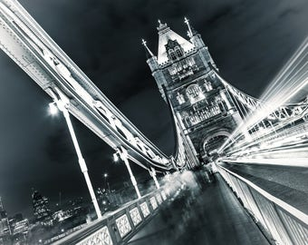 Tower Bridge in London at night - canvas