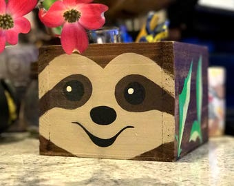 Sloth // Multiple Sizes // Planter // Desk Organizer // Caddy // Napkin Holder // Handmade and Hand Painted