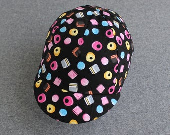 Liquorice Allsorts cycling cap with various linings