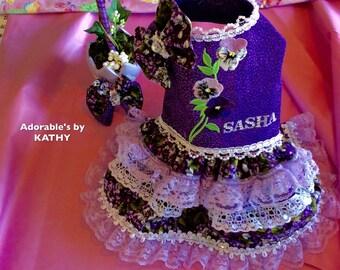 Purple Haze Floral Print 5 layer Dress