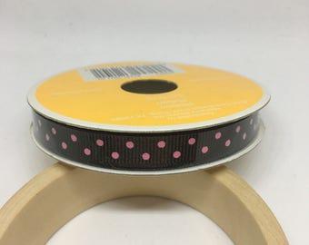 Brown Ribbon with Pink Polka Dots / Polyester Ribbon / Fabric Ribbon / Sewing Ribbon / Scrapbooking / Card Making