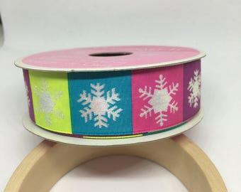 Snowflake Ribbon / Polyester Ribbon / Fabric Ribbon / Sewing Ribbon / Scrapbooking / Card Making