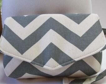 Small Grey/Natural Chevron Clutch, Wristlet, Makeup Bag, Purse (ver1)