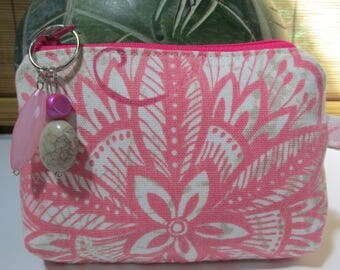Small Taupe/Pink Floral Zipper Coin Purse, Clutch, Wristlet, Pouch