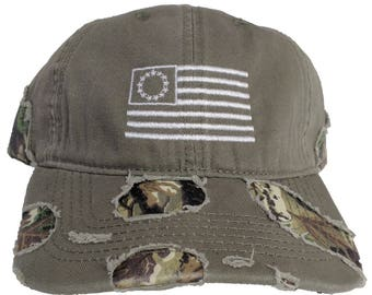 13 Colonies Flag Embroidered Distressed Camo Dad Hat