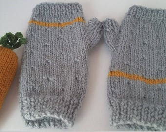 PINK stripe Mittens fingerless hand knit for child