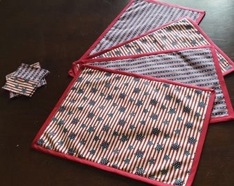 Patriotic, Red White and Blue, 4th of July Reversible Placemats
