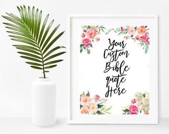 Custom Bible Quote Print, Custom Bible Verse,  Printable Art, Custom Design, Christian Wall Art, Digital Download, Home Decor, Wall Decor