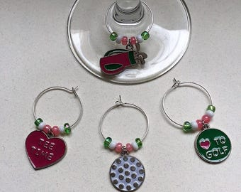 Golf Wine Charms