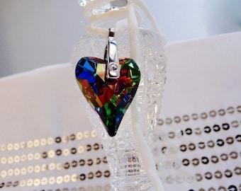 Brilliant Swarovski Crystal Heart on a White Rolled Silk Cord