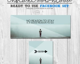 ready to use facebook cover image, premade instant download social media facebook timeline cover graphic image package, social media images