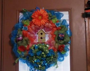 Blue, green and orange wreath