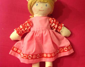 Handmade Cloth Doll with Two Outfits and Hat