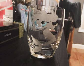 Etched Double Old Fashioned Glass - mermaid