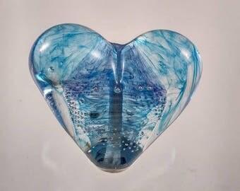 Puffy Lampwork Blue Heart Focal Bead SRA Caliente Art Glass