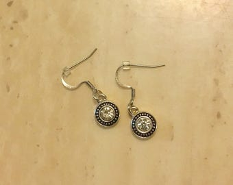 Round diamond earring set, dangle earrings, silver drop earrings, silver diamond earrings
