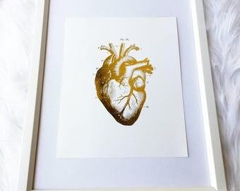 Heart Anatomy, gold foil print, rose gold foil print, cardiology, anatomy, heart, wall print, wall art, home decor, trendy decor, 8x10