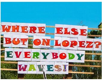 "Photo card for notes or greetings // San Juan Islands Lopez Washington Waves Waving 4th of July Parade Sign ""Everybody Waves!"" SJN-05"