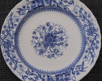 Antique Victorian Kirby and co dessert plate, blue and white Gloucester design. Reg no 104604