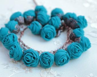 Fabric bracelet Rose bracelet Emerald fabric jewelry Flower bracelet Floral jewelry Clusters bracelet Friendship bracelet Textile bracelet