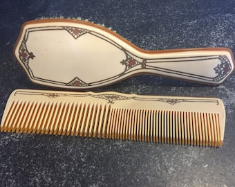 Vintage Celluloid Bakelite Comb and Brush