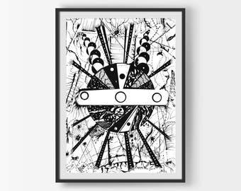 Modern Black Decor, Modern Art, Modern Print, Geometric Art, Geometric Print, Digital Download, Abstract Wall Art, Printable Wall Art