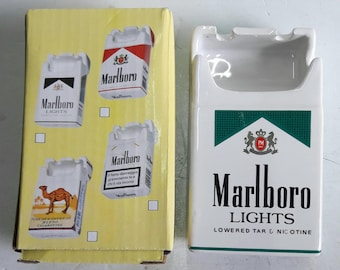 Marlboro Ceramic Ashtray Advertising Marlboro Lights Green Cigarettes Pack Shape Ashtray Ceramic New Boxed