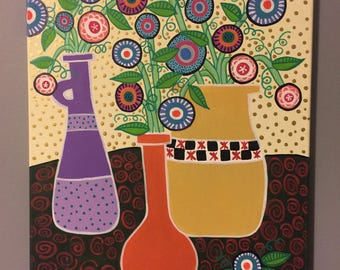 Three Vases Folk Art Acrylic Painting