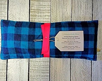 Microwave Heating Pad, Microwaveable Herbal Heating Pillow, Rice and Flax Seed Heat Pack, Herbal Lavender Peppermint Heat Bag, Hot and Cold