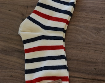 Red, Blue and Black Strip Socks