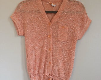 Salmon Short Sleeve Delicate Knit Button-Up Sweater - Small