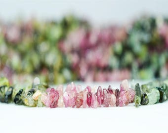 AAA quality Watermelon Tourmaline rough chips / 3.5-4.5 mm / 34 inch