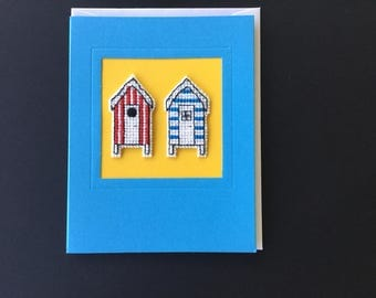 Greetings card - Birthday card- Handmade -  cross-stitched -blank card - Beach huts.