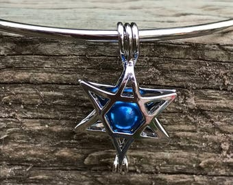 Silver Plated Star of David Pearl Cage Pendant