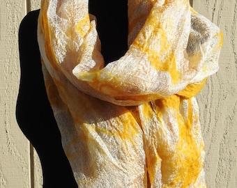 Saffron merino nuno felted onto Margilan silk