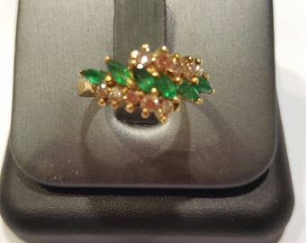 14k Gold ring natural emerald and diamond