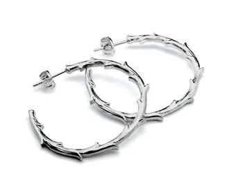 Hoop Earrings, Silver Hoop Earrings, Nature Inspired, Nature Lover, Branch Earrings, Botanical Jewelry, Botanical Earrings, Elegant Gift