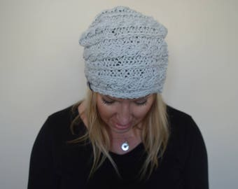 The Steffer Slouchy Cable Hat in Clarity
