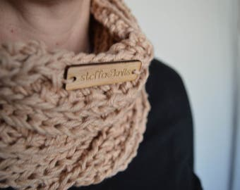 The Ribbed Infinity Cowl in Butter Wheat