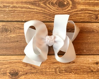 """4"""" White Classic Boutique Style Hair Bow"""