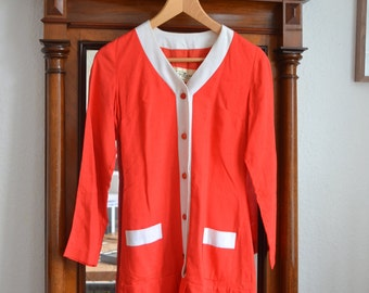 Preppy Red and White Vintage Button Dress