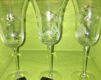 Three Matching Wine Glasses