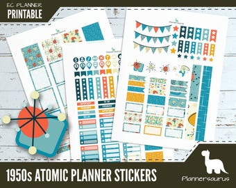 Mid century printable planner stickers | 1950s Atomic | mid century wallpaper pattern | instant download | EC vertical planner printables
