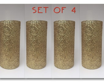 Set of 4 Bling Cylinder Vases, Gold vases, Glitter Centerpiece, Home Decor, Party Centerpiece, Wedding Centerpiece