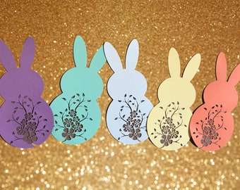 Intricately Cut Easter Bunny Decor - 5 big bunnies in bright spring colors