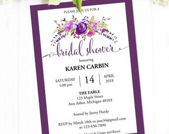 Bridal Shower Invitation Instant Download, Printable Bridal Shower Invites with Purple Flowers, Editable PDF Template #MCS-03