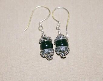 Black Onyx Bead Earrings with Bead Caps