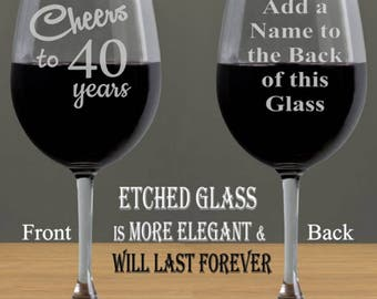 40th Cheers to 40 Years, Birthday for Women, 40th Birthday Gifts for Men, 40th Birthday, Personalized Birthday Gifts, Wine Glasses